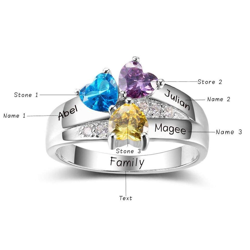 20aa3257a6876 Amxiu 925 Sterling Silver Ring with Birthstones Custom Five Family Names  Rings For Women's Gift Large Heart Zircon Flower Rings