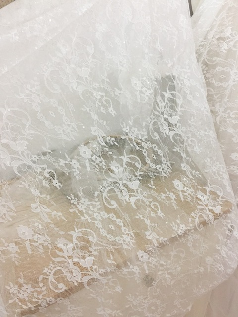 One yard clear sequin tulle lace fabric for wedding , bridal gowns ...