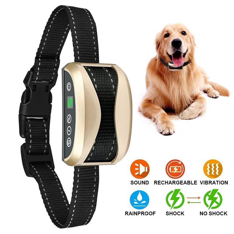 Pet Anti Bark Collar Waterproof Vibration Electric Shock Sound Automatic No Barking Collar For Dogs Stop Barking Training Collar