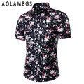 Hombres Floral Ocasional Camisa de Manga Corta Camisa Masculina Moda Slim Fit Turn-Down Collar Shirts Vestido Grande del Tamaño M-5XL camisetas Homme