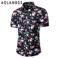 Men Casual Floral Short Sleeve Shirt Camisa Masculina Fashion Slim Fit Turn-Down Collar Shirts Big Size M-5XL Dress Shirts Homme
