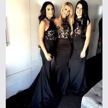 Black 2017 Mermaid Halter Floor Length Satin Appliques Lace Long Bridesmaid Dresses Cheap Under 50 Wedding