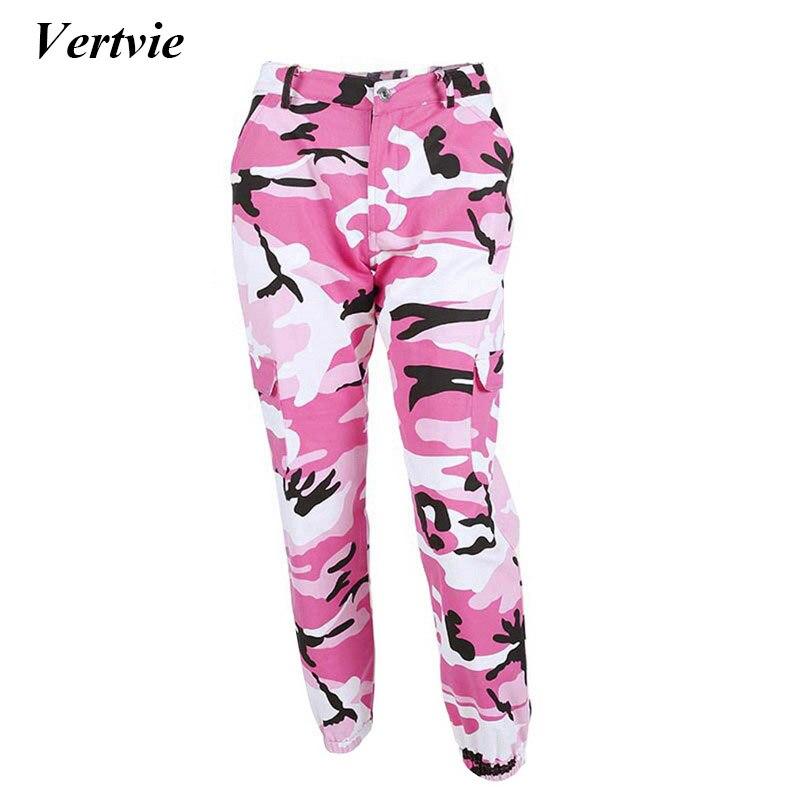 Vertvie Brand Loose Camouflage Pants Women Running Fitness Gym Sport Pants Denim Pocket Jogger Trouser Printed Yoga Sportswear