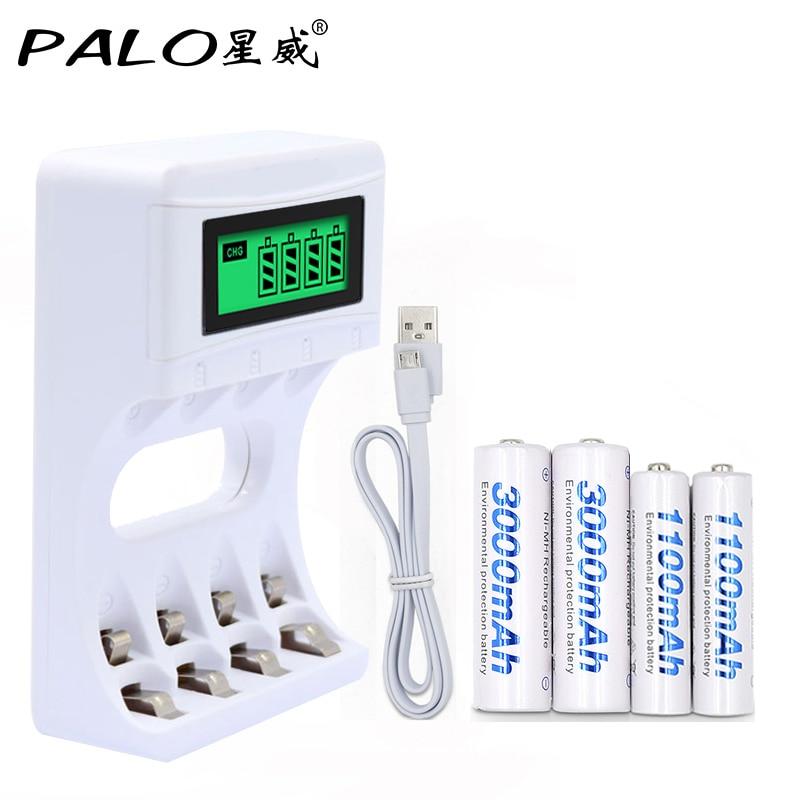 все цены на 4 Slots Ulrea Fast Smart Intelligent Battery Usb Charger With LCD Display+2 Pcs AA+2 Pcs AAA Rechargeable Batteries онлайн