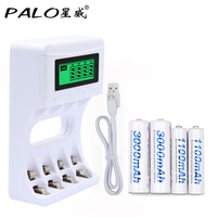 4 Slots Ulrea Fast Smart Intelligent Battery Usb Charger With LCD Display 2 Pcs AA 2
