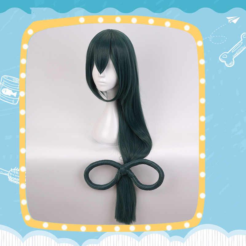 Cosplay peruk My Hero Academia Boku hiçbir kahraman Academia Asui Tsuyu kız postiş Atrovirens uzun kıvırcık saç Periwig