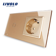 New EU standard Touch Switch, Golden Crystal Glass Panel, 110~250V 16A Wall Socket with Light Switch, VL-C701-13/VL-C7C1EU-13