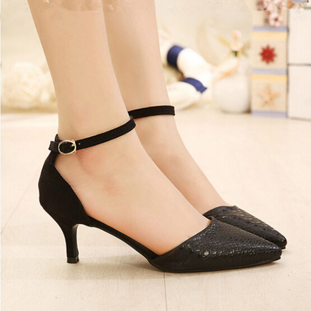 2016 Elegant Style Sexy Buckle Strap Shoes Sandals Woman's Fashion Mid-heel Sandle Black White