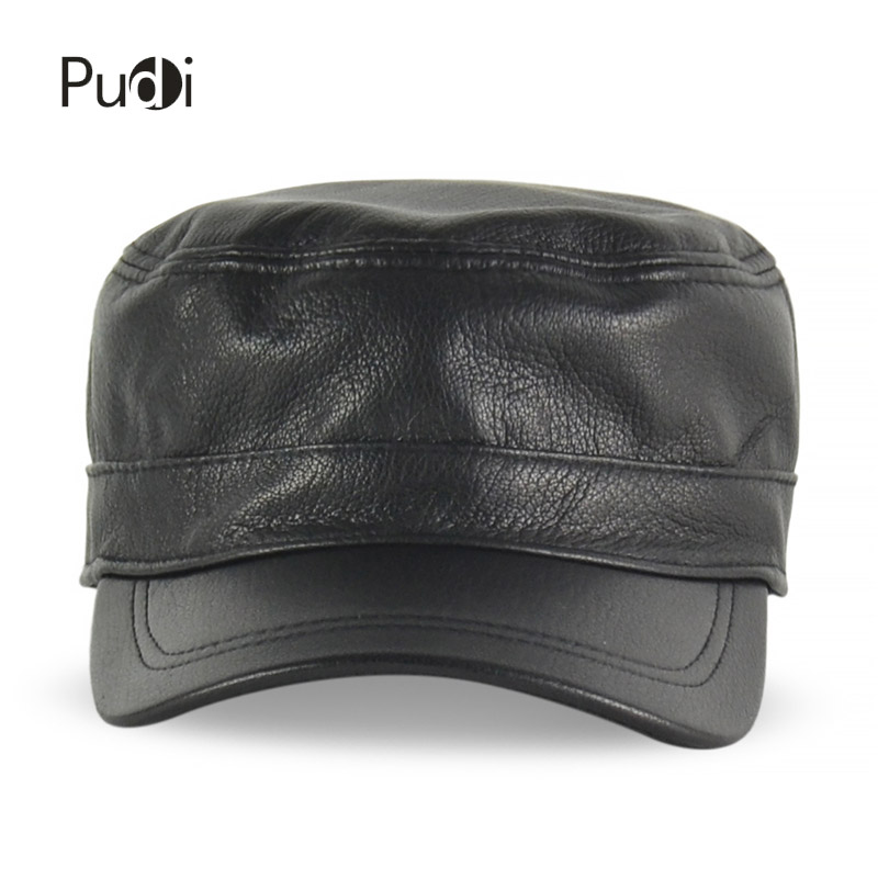 HL154-B Spring genuine leather men baseball cap hat high quality men's real sheep skin leather adult solid army hats caps 35colors silver gold soild india scarf cap warmer ear caps yoga hedging headwrap men and women beanies multicolor fold hat 1pc