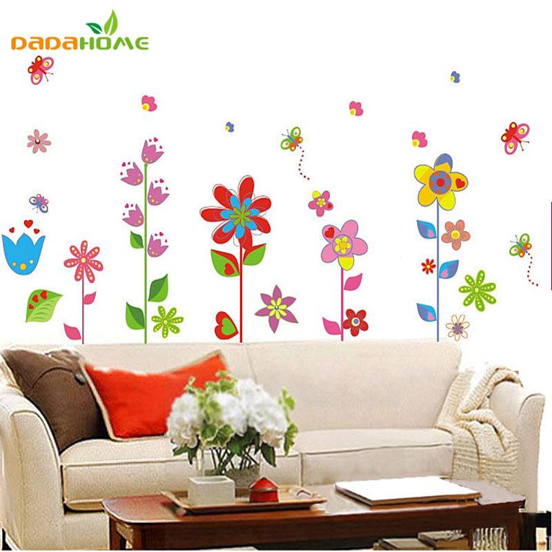 Diy Colorful Rooms: Colorful Garden Flower Bedroom Room Vinyl Decal Art DIY