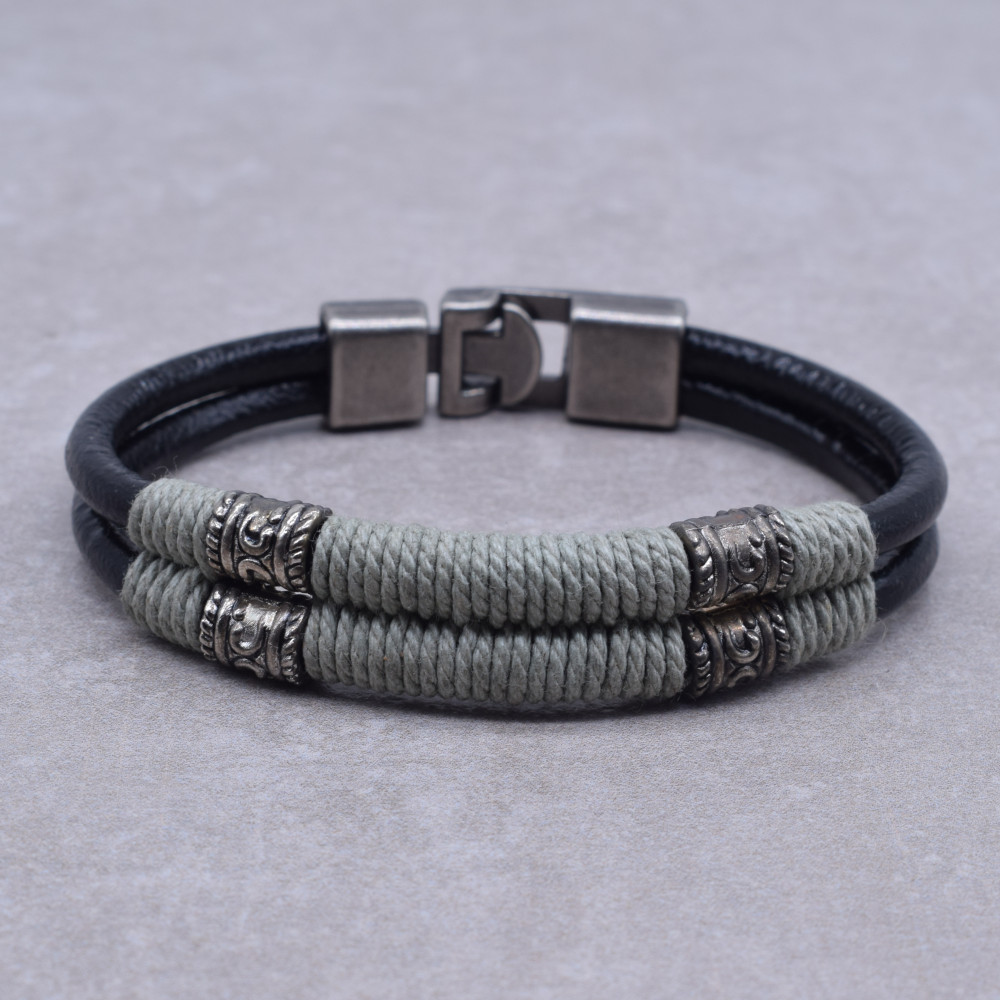 Grosir Vintage Pria Gelang Perhiasan Buatan Tangan Berliku Tali Double Black Kulit Gelang Hadiah Gelang Homme