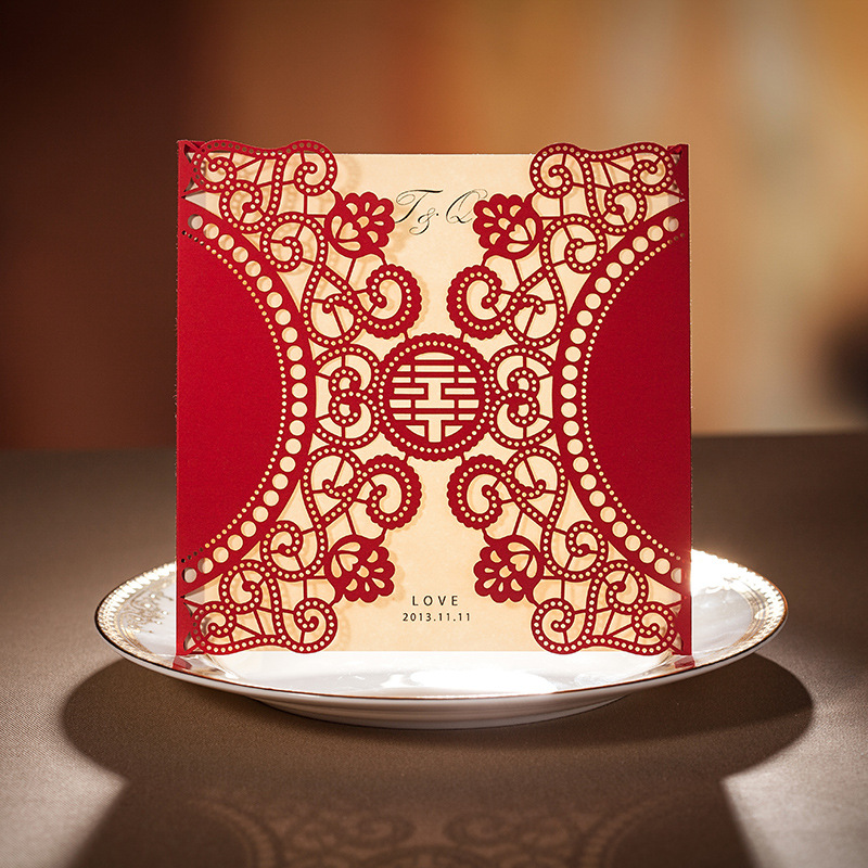 Chinese Traditional Red Hollowed Out Wedding Invitation