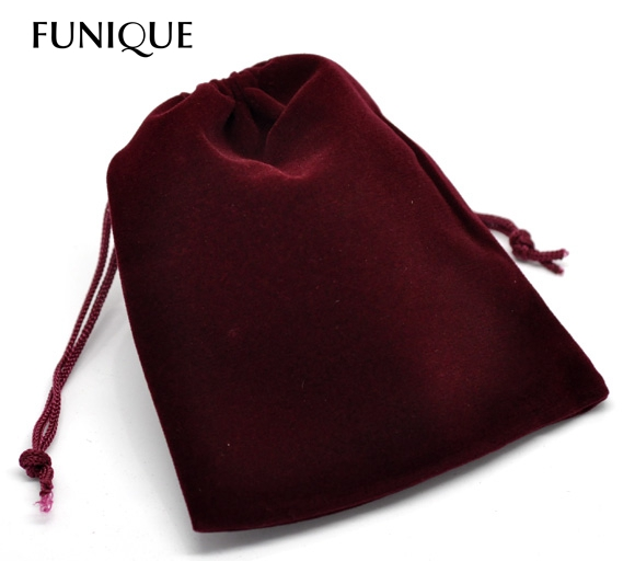 50 Gift Dark Red Velveteen Pouch Jewelry Bags With Drawstring 12x10cm