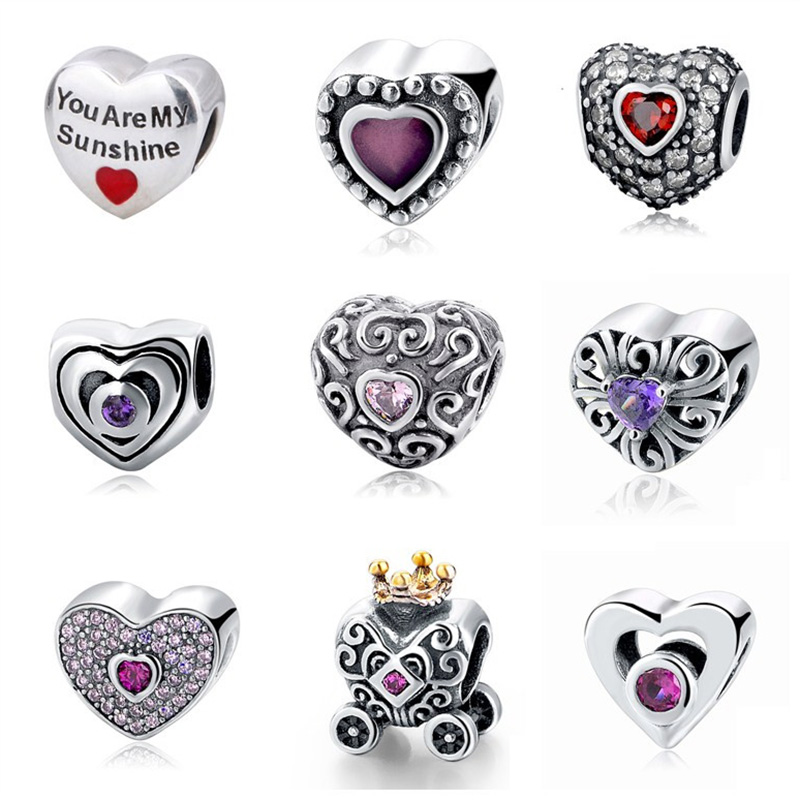 100% 925 Sterling Silver heart shape with cz & glue beads Fit Original pandora charms Bracelets Authentic Jewelry Making Gifts