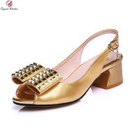 New Elegant Women Pumps Fashion Peep Toe Square Heels Pumps High QualityGreen Gold Shoes Woman US