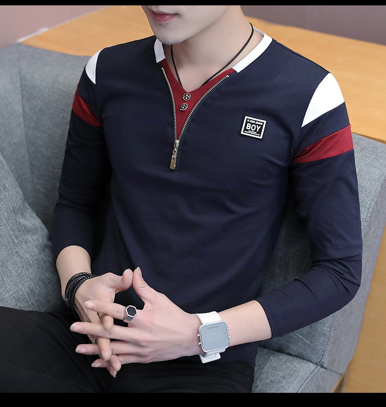 2019 Spring T-Shirt Men Long Sleeve Casual Zipper T Shirts Self-cultivation Design Simple T Shirt Brand New Round Neck Homme 20