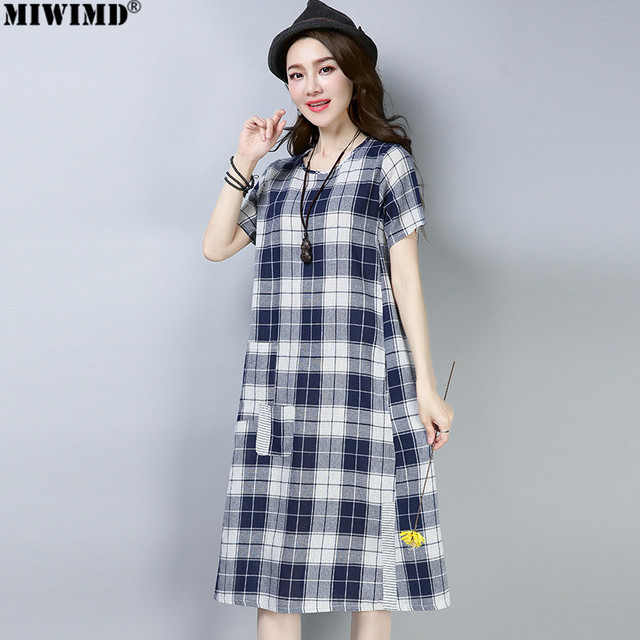 96f6abaac79e MIWIMD Women Summer Dresses 2018 New Fashion Casual Loose Cotton Linen  Short Sleeve Plaid Patch Vintage Long Dress Big Size