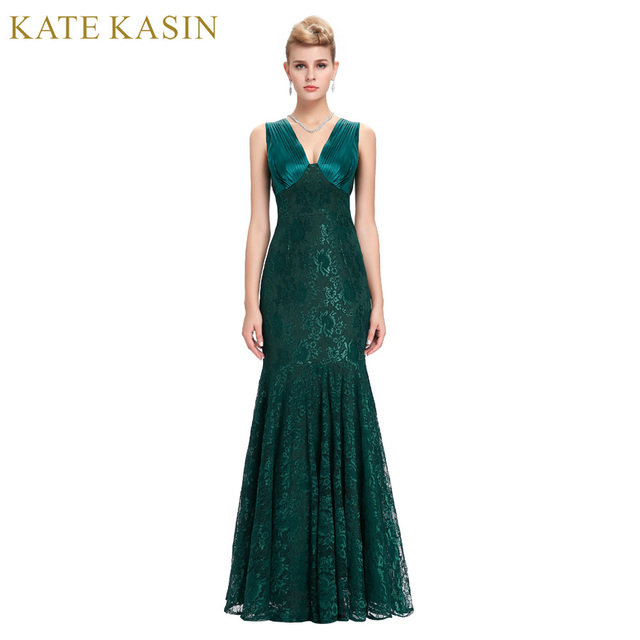 Kate Kasin Lace Evening Dresses Long Party Dress Robe de Soiree Green Blue  Mother of the eb56020172bf