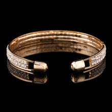 2018 Luxury Crystal Bracelets For Women Gold Silver Bracelet Bangles Femme Open Bangle Cuff Fas Accessory Jewelry(China)