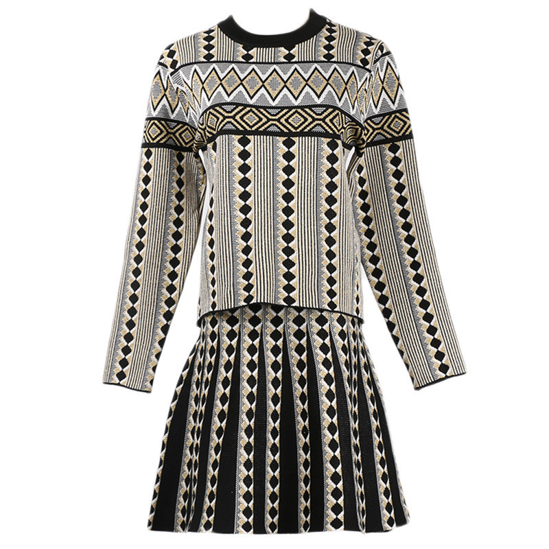 Autumn Geometric Printed Women Mini Dress Two Piece Elegant Vintage Knitted A-Line Dresses Winter Warm Knitting 2 Piece Dress