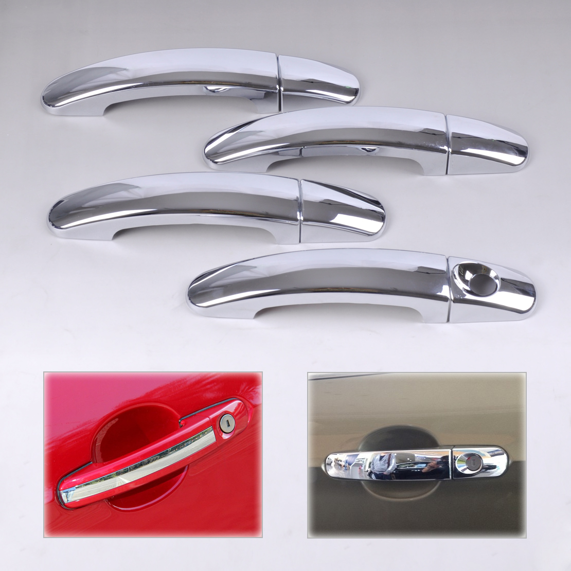 beler New Car Accessories Chrome Door Handle Cover Trim Stickers Molding Cup Frame Decoration For Ford Escape Kuga 2013 2014