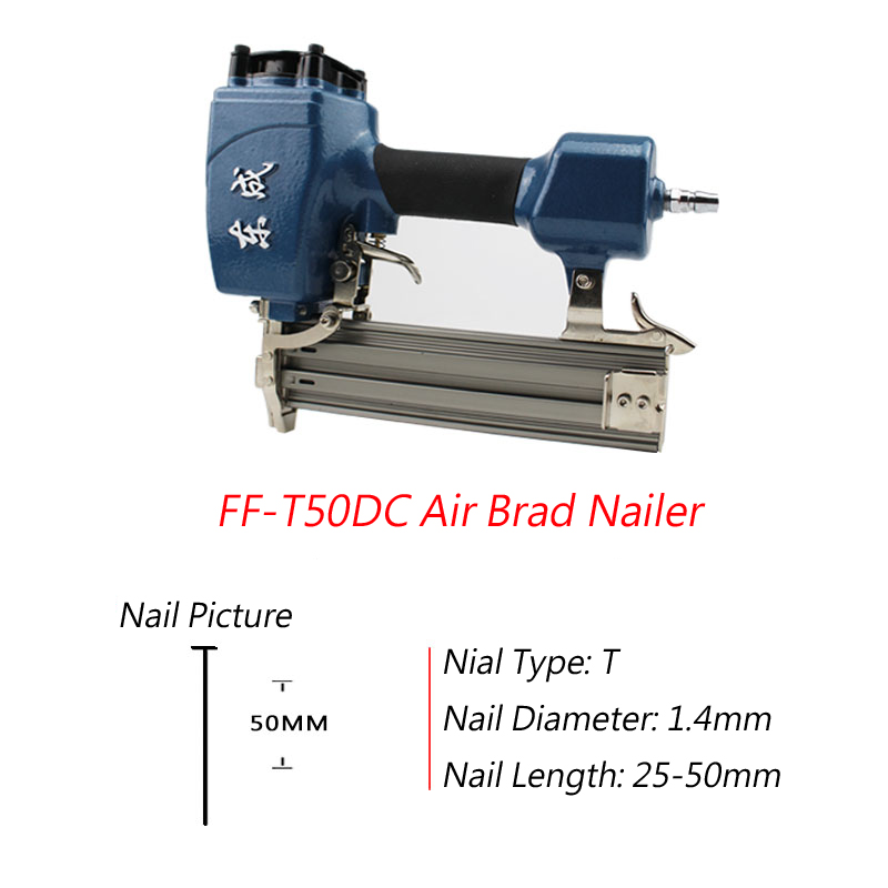 2017 New Arrivel T50DC Air Brad Nailer 25-50mm Straight Nail 1.4mm Nail Diameter Air Stapler 4-8 Bar Air Brad Nail Gun 8mm Pipe nail gun for width 10mm code nail 10 22mm u air stapler u nail pneumatic air nail gun 0 6mm nial diameter 8mm pu pipe