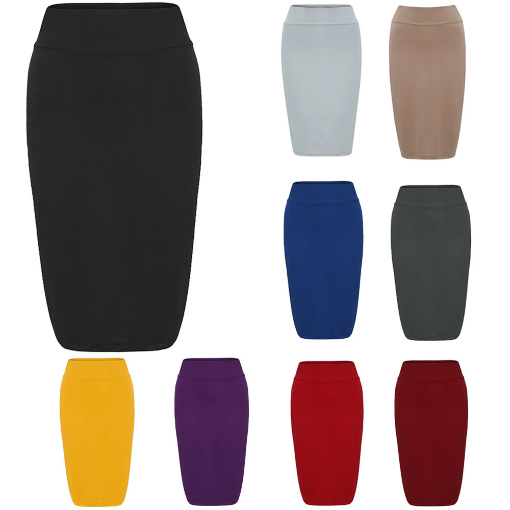 Hot sale women fashion skirt casual solid high elastic stretchy ladies pencil plain cotton bodycon skirt club,party dropshipping