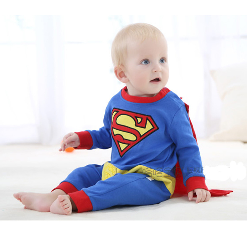 Cute Baby Cosplay Superman Costumes Romper Halloween Superhero Jumpsuit For Toddler Infant Boy Girl Outfit Birthday Party Gift
