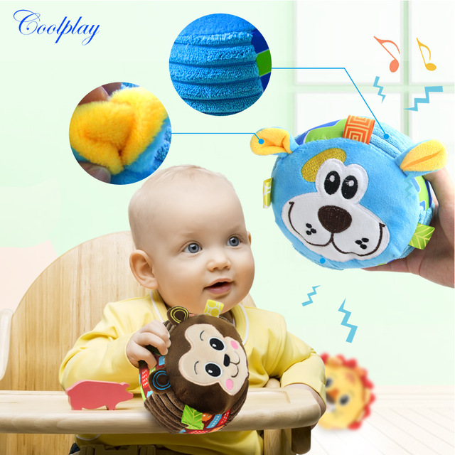 Colorful Cartoon Animal Children's Ring Bell Ball Baby Cloth Musical Learning Toy For Kid Hand Lovely Grasp Shaking Rattle Ball