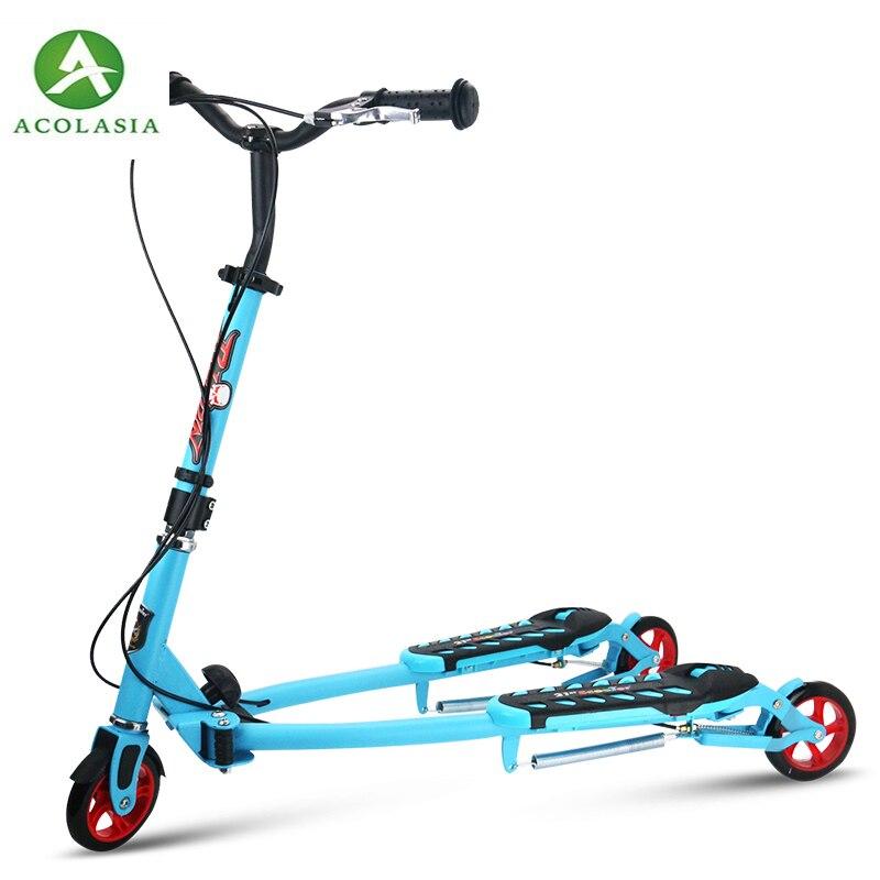 Scooter pliant d'enfants avec 3 roues, Tricycle portatif de Scooter de pédale de 2, Scooter de ciseaux avec ajuster la taille, Scooter d'enfant de roue en polyuréthane