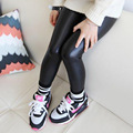 Children baby black leather pants for girls kids leggings spring new Korean slim leggings for 2 3 4 5 6 7 8 9 10 11 12 years old