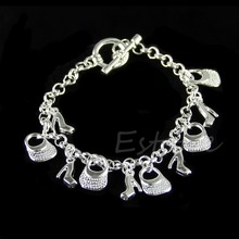 New Fashion Women solid silver Plated jewelry chain bracelet charm bangle gift-Y107