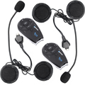 2 unids Inalámbrica Bluetooth BT Interphone 5 Jinetes 1200 M Casco de La Motocicleta Intercom Headset con función de FM