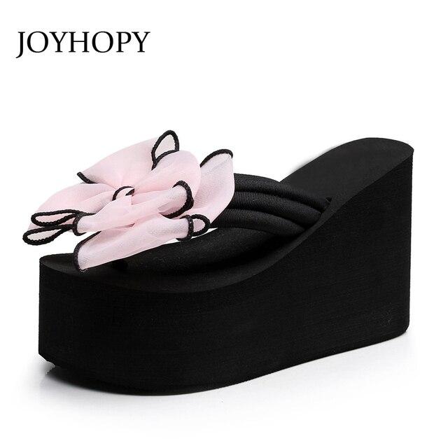 1042a8e0a8d6 JOYHOPY Super High Heels EVA Platform Shoes Women Bowtie Bowknot Slippers  Outside Slides Girls Beach Wedges Flip Flops AWS057
