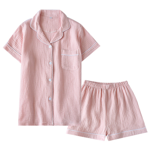 Image 4 - Summer Cotton Crepe Short sleeved Shorts Pyjamas Women Solid Thin Sexy Pajamas Loungewear Sleepwear Pink Home Couple Pijamas