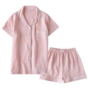 Image 4 - 夏綿クレープ半袖ショートパンツパジャマ女性固体薄型セクシーなパジャマ部屋着パジャマピンクホームカップルpijamas