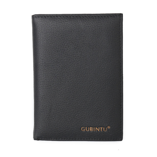 New Cowhide Leather Men Middle Long Wallets Black Color Credit Card Holder Driver's License Passport Pocket Coin Purse ID Wallet