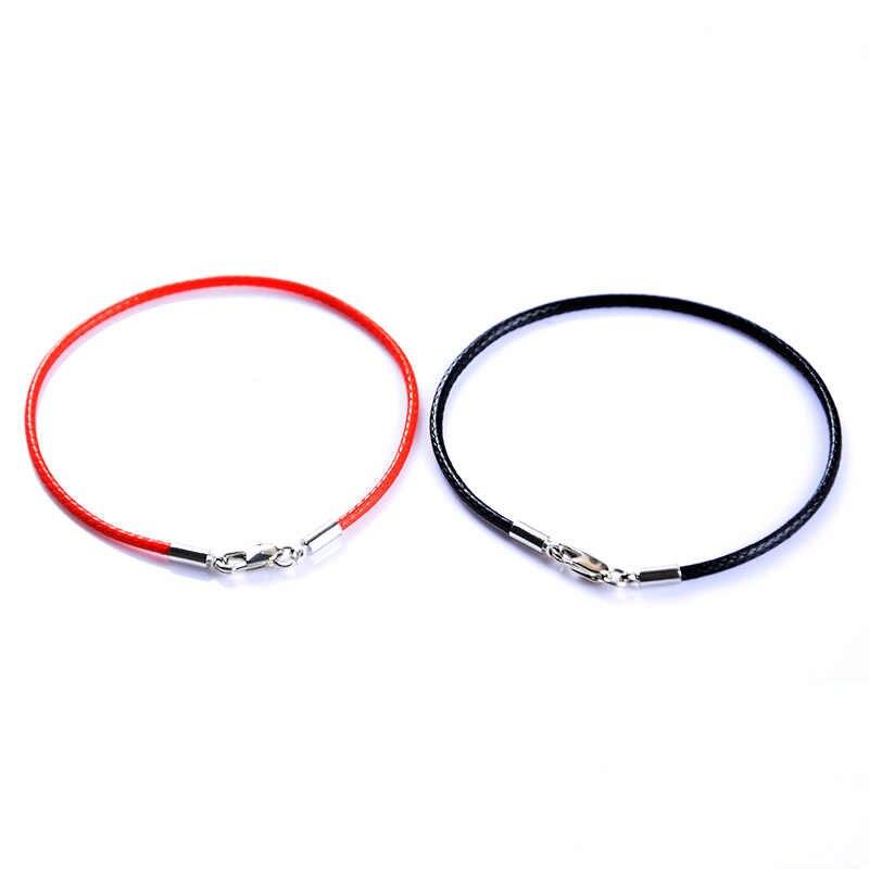 ファッション古典的なロープレザー黒ブレスレット赤い糸ラインの宝石赤い文字列ブレスレット用女性男性ロブスターブレスレットsl501