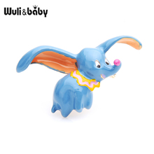 Wuli&baby Blue Flying Elephant Brooches 2019 New Fashion Enamel Animal Party Brooch Pins Gifts