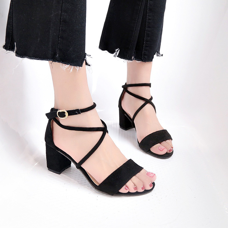 2019 summer new ladies sandals fish mouth foot ring straps Korean students ladies sandals high heel thick with sandals(China)