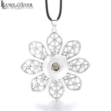 Fashion Interchangeable Flower Crystal Ginger Pendant 033 Fit 12mm 18mm Snap Button Necklace Charm Jewelry For Women Gift(China)