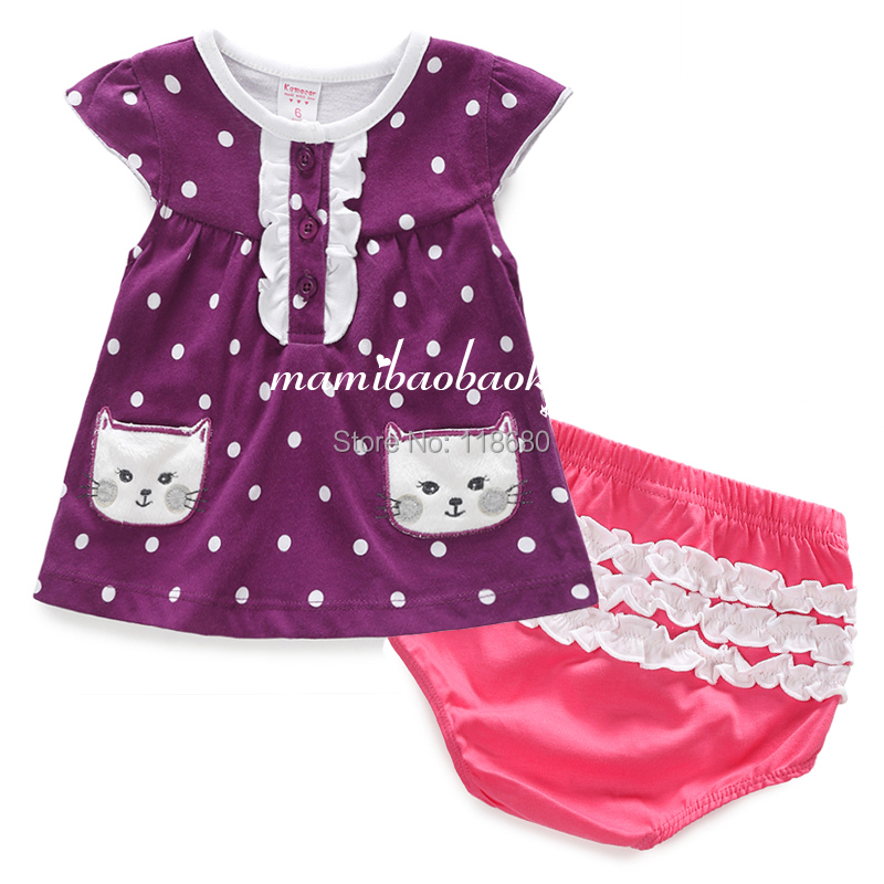 new 2015 Summer set baby girl clothing sets girls cute Short sleeve Polka Dot cat t shirts + infant  shorts sets kids clothes letter print o neck collar short sleeve t shirts rose white shorts girl sets 2017 summer small kids new fashion for girls sets