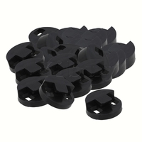 Yibuy 50 pcs Black Rubber Two Holes Bass Mute for String Double Bass Instrument