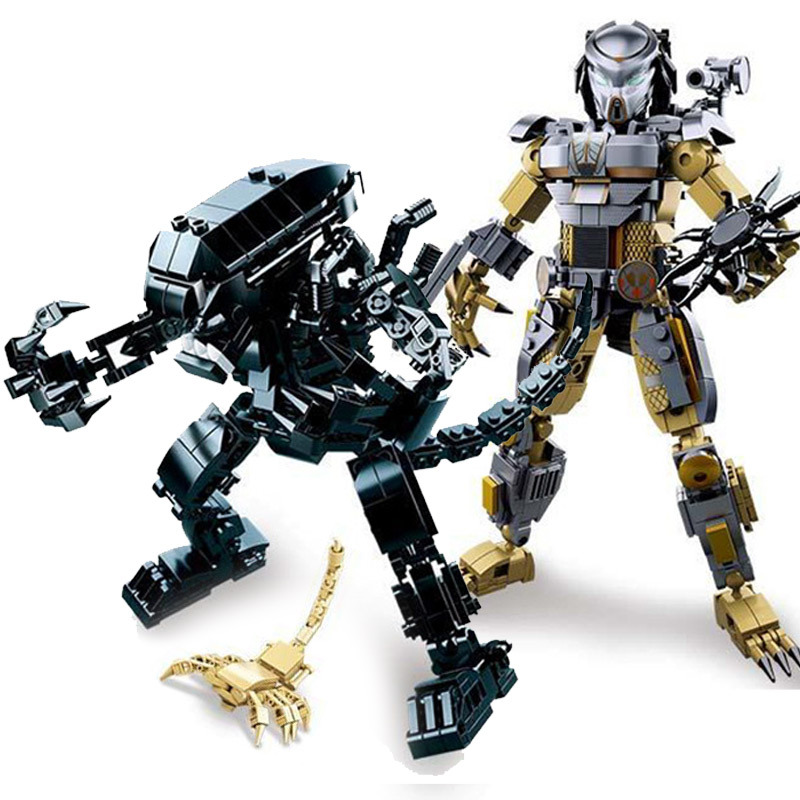 New Alien Vs Predator Robot War Fit Legoings Star Wars Robot Figures Technic Building Blocks Bricks Creator Bricks Toys Kid Gift
