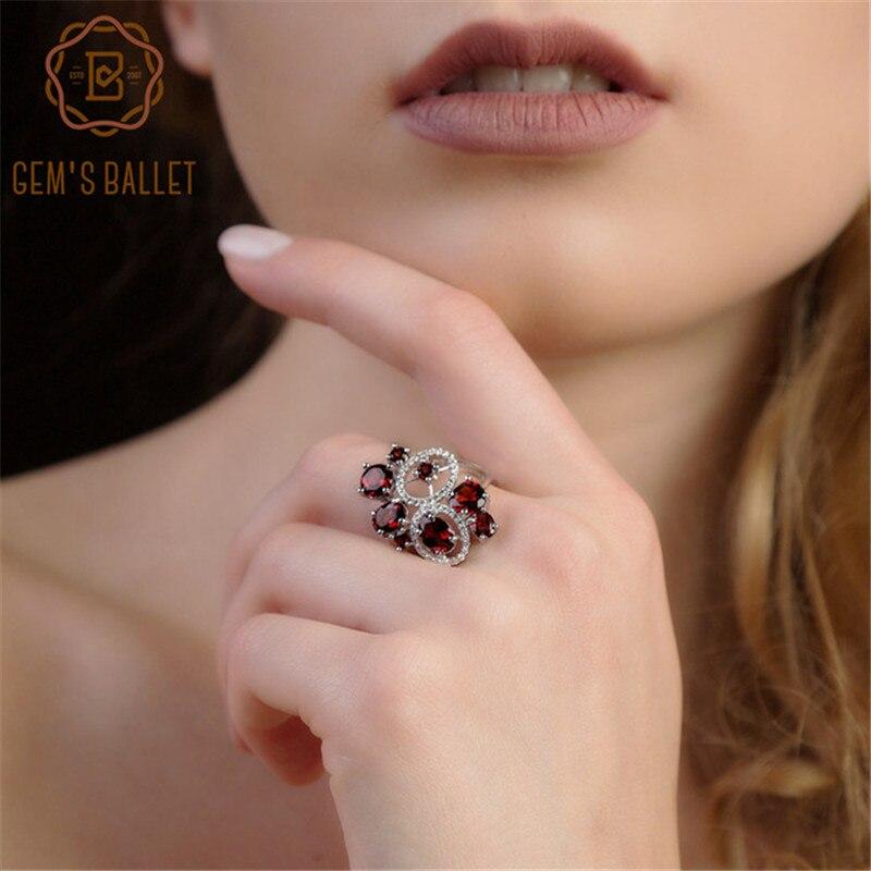 GEM'S BALLET 5.08Ct Natural Garnet Gemstone Ring 925 Sterling Silver Trendy Flowers Finger Rings for Women Wedding Fine Jewelry