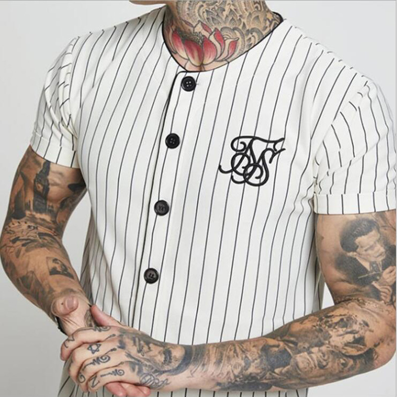 Fashion Summer 2019 New Men Streetwear Hip Hop T-shirts Sik Silk Embroidered Baseball Jersey Striped Shirt Men Brand Clothing