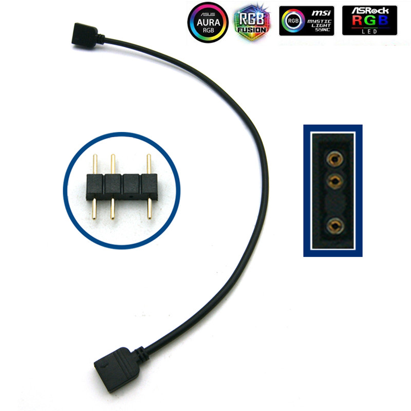 Материнская плата AURA RGB разветвитель Интерфейс 12 V/5 V прибор приемно-D-RGB синхронизации концентратор передачи мм, удлиняющий кабель, для ASUS GIGABYTE MSI - Цвет лезвия: 3Pin Extender Cable