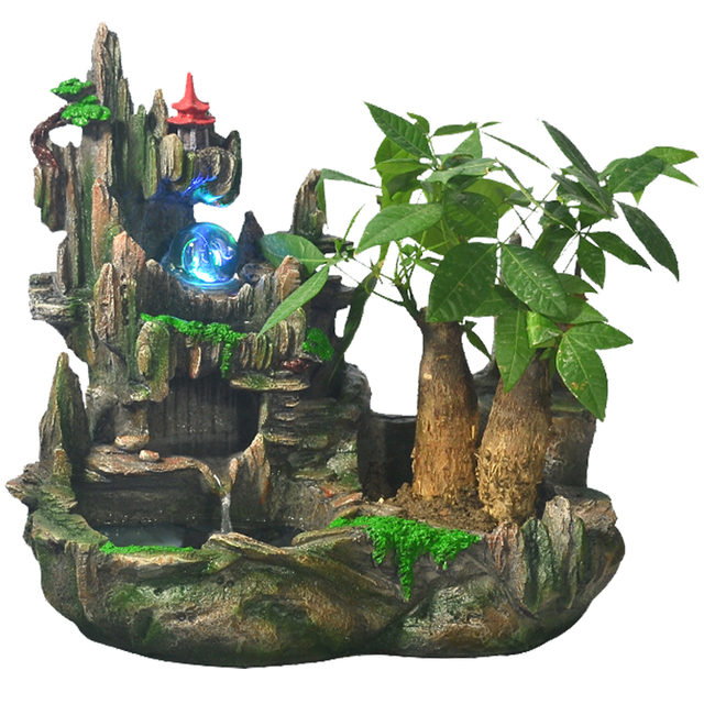 Home Decor Fountain: Water Fountain With Pump Small Rockery Crystal Ball