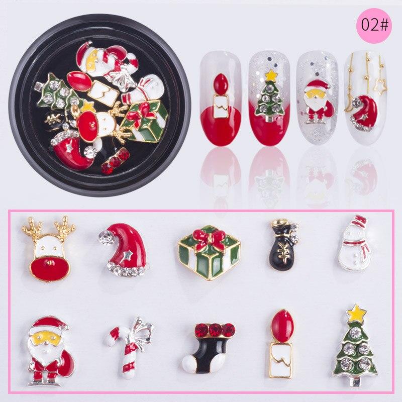 NEWBY-10-Designs-box-Alloy-Metal-Christmas-Snowman-Nail-Art-Decorations-Charms-DIY-3D-Nail-Rhinestones (5)