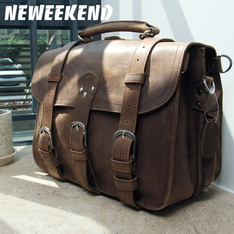 NEWEEKEND Retro Genuine Leather Cowhide Crazy Horse Big Travel Bucket Crossbody Luggage Bag Handbag for Man 5048NEWEEKEND Retro Genuine Leather Cowhide Crazy Horse Big Travel Bucket Crossbody Luggage Bag Handbag for Man 5048